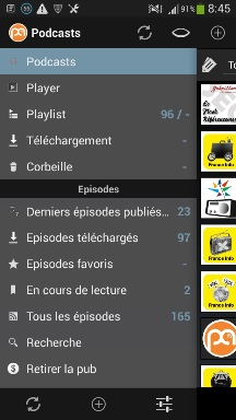 menu podcasts sur android