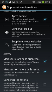 suppression automatique podcasts sur androïd