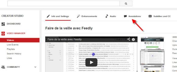 annotations sur youtube